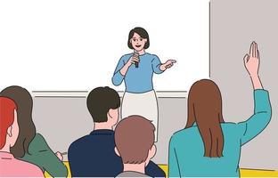 une femme prend la parole sur le podium et le public lève la main. vecteur