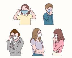 les personnes portant des masques. vecteur