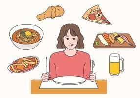 une fille est assise dans un restaurant et réfléchit au menu. vecteur