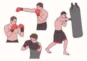 postures de personnage de boxeur. vecteur