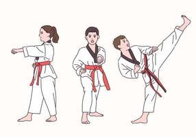 un garçon et une fille mignons jouent au taekwondo. vecteur