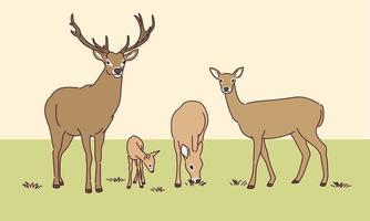 illustration de famille de cerfs mignons. vecteur