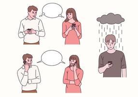 un couple pense et parle avec un téléphone portable à la main. un autre homme attend un appel. vecteur