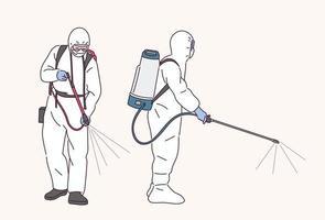 les personnes en uniforme de quarantaine pulvérisent des désinfectants. vecteur