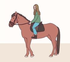 une fille à cheval. vecteur