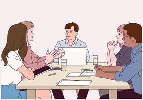 les gens s'assoient autour de la table et échangent leurs opinions les uns après les autres. vecteur