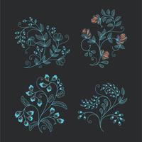 Collection minimaliste d'ornement floral filaire pour les éléments de conception vecteur