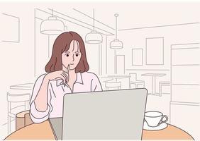 une fille étudie au café vecteur
