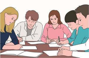 les gens étudient ensemble vecteur