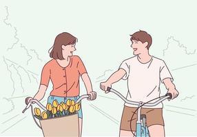 un couple s'amuse à faire du vélo. vecteur