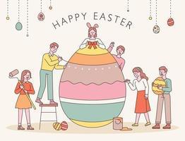 personnages de Pâques. les gens décorent ensemble des œufs de Pâques. illustration vectorielle minimale de style design plat. vecteur