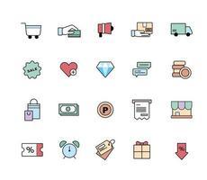 jeu d'icônes de shopping. illustration vectorielle minimale de style design plat.