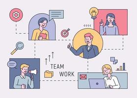 des gens d'affaires connectés les uns aux autres via un réseau et travaillant en équipe. illustration vectorielle minimale de style design plat. vecteur