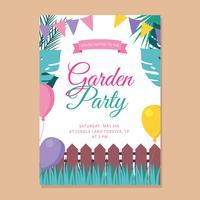 Invitation de fête de jardin vecteur