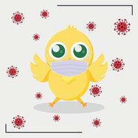poulet de Pâques jaune dans un masque médical entouré par le virus covid-19 vecteur
