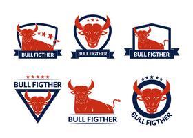 Badges de combat de taureau vecteur