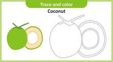 trace et couleur noix de coco vecteur