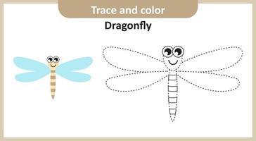 trace et couleur libellule vecteur