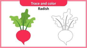 trace et couleur radis vecteur