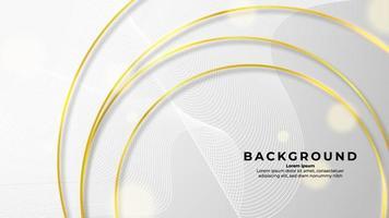 cercle de contour doré abstrait sur fond blanc avec effet de paillettes et couleur or brillant vecteur