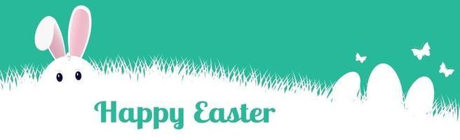 lapin de pâques assis dans l'herbe dense - vecteur
