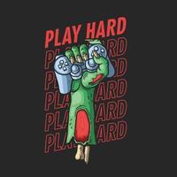 illustration de joueur dur main zombie vecteur