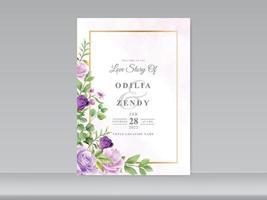 modèle de carte d & # 39; invitation de mariage avec une belle main floral dessiné vecteur