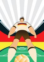 Joueurs de football de coupe du monde de l'Allemagne posant des poses vecteur
