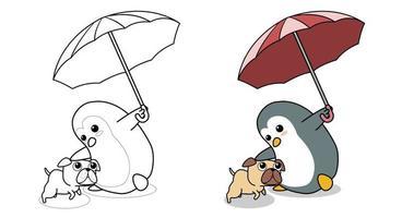 adorable pingouin tient un parapluie avec une page de coloriage de dessin animé de chien pour les enfants vecteur