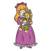 petite fille aux cheveux roux tenant le jouet. vecteur