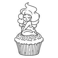 cupcake crème fée. jolie fille sur cupcake. vecteur