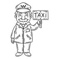 heureux chauffeur de taxi. coloriage. vecteur