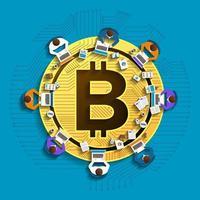 concept de design plat crypto-monnaie bitcoin vecteur