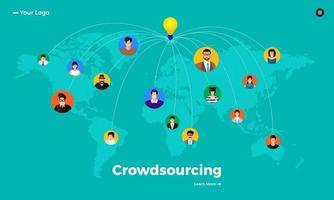 crowdsourcing concept design plat vecteur