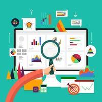 analyse de données concept design plat. visualisez avec graphique et graphique la croissance du marketing. illustration vectorielle. vecteur