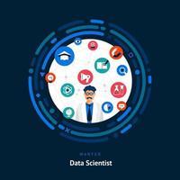 compétences recherchées en data scientist vecteur