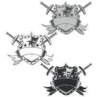 conception de vecteur d'armoiries ruban en niveaux de gris