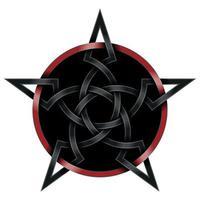 conception d'étoiles imbriquées dans un style celtique noir et rouge vecteur