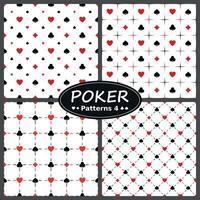 conception de vecteur, quatre modèles de poker, avec le coeur, diamant, as, symboles de trèfle, le tout sur fond blanc. vecteur