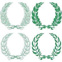 illustration de couronnes de laurier et d'olive attachées avec un ruban vecteur