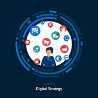 compétences de stratège numérique recherchées vecteur