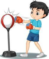 personnage de dessin animé d'un sac réflexe de boxe garçon vecteur