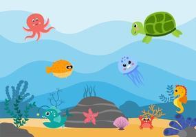 paysages sous-marins et vie animale mignonne dans la mer avec des hippocampes, des étoiles de mer, des poulpes, des tortues, des requins, des poissons, des méduses, des crabes. illustration vectorielle vecteur