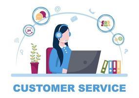 contactez-nous service à la clientèle pour le service d'assistant personnel, conseiller personnel et réseau de médias sociaux. illustration vectorielle vecteur