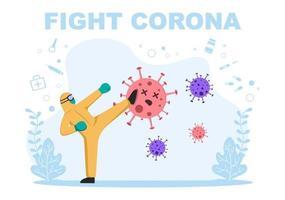 illustration vectorielle soins médicaux personnes protégeant et luttant contre le virus corona vecteur