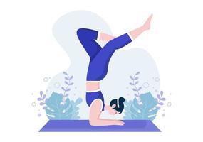 les pratiques de yoga ou de méditation visent les bienfaits pour la santé du corps pour contrôler les pensées, les émotions, les débuts et la recherche d'idées. illustration vectorielle design plat vecteur