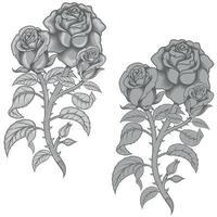 conception de vecteur d'un bouquet de fleurs, en niveaux de gris