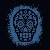 mort sainte, jour des morts, crâne de sucre mexicain, t-shirts design vintage grunge vecteur