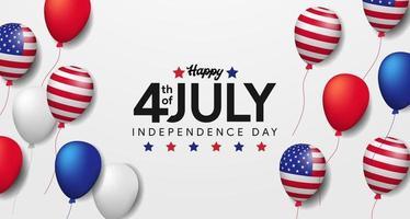 quatrième de juillet, fête de l'indépendance américaine, 4 juillet des États-Unis avec modèle de bannière d'affiche de fête ballon 3d vecteur