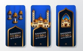 modèle de bannière d'affiche d'histoires de médias sociaux ramadan vecteur